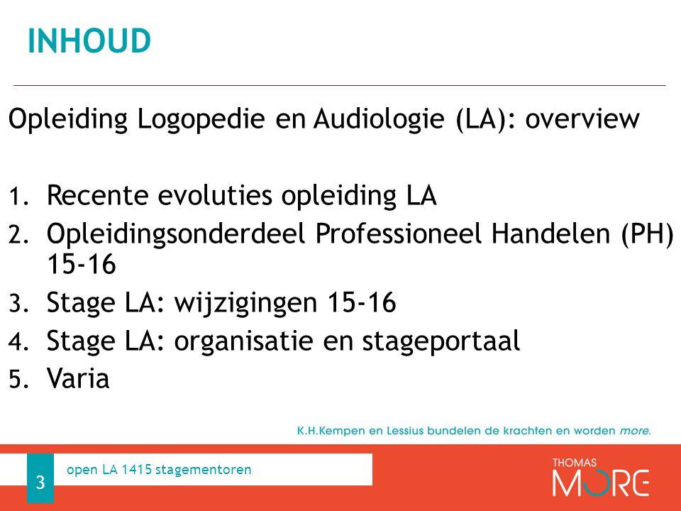 Professioneel Handelen Opleiding Logopedie en Audiologie (LA): overview 1.