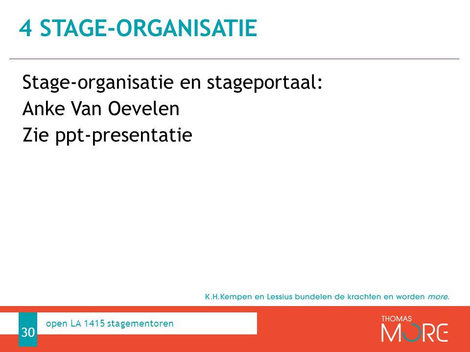 Professioneel Handelen Stage-organisatie en stageportaal: Anke Van Oevelen Zie ppt-presentatie 4 STAGE-ORGANISATIE 30 open LA 1415 stagementoren