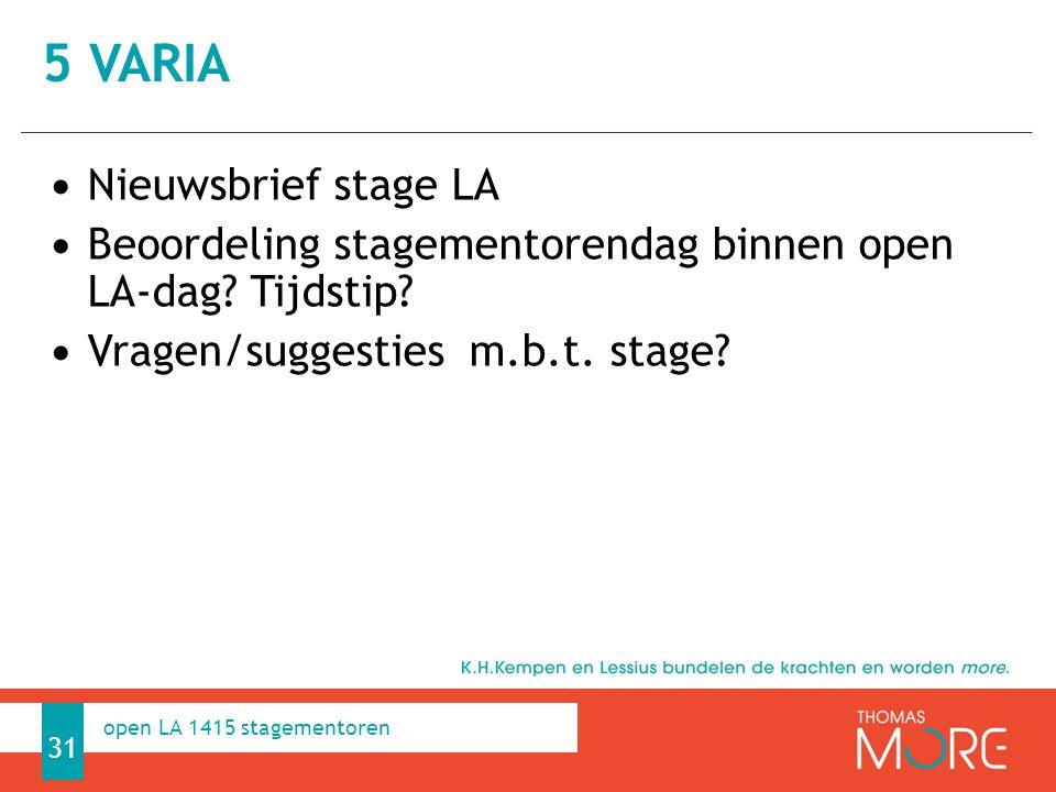 Professioneel Handelen Nieuwsbrief stage LA Beoordeling stagementorendag binnen open LA-dag.