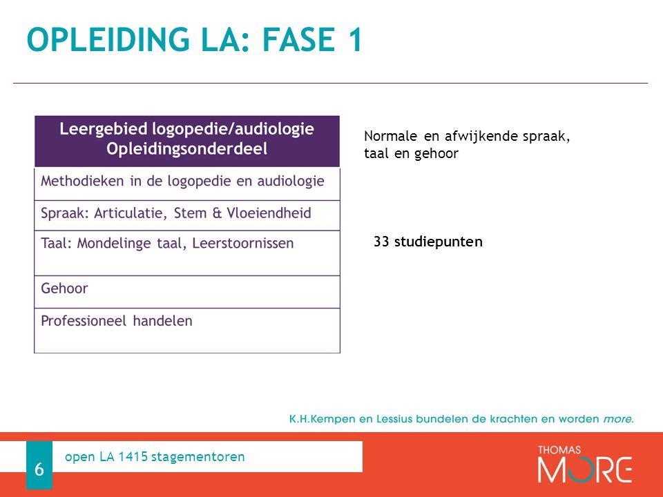 Professioneel Handelen 6 open LA 1415 stagementoren Normale en afwijkende spraak, taal en gehoor 33 studiepunten OPLEIDING LA: FASE 1