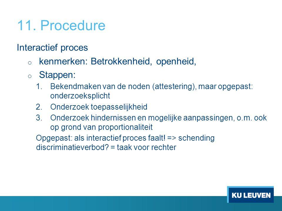 11. Procedure Interactief proces o kenmerken: Betrokkenheid, openheid, o Stappen: 1.Bekendmaken van de noden (attestering), maar opgepast: onderzoeksp