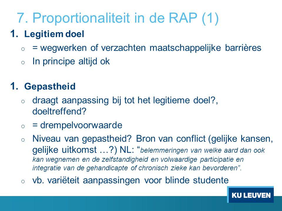7. Proportionaliteit in de RAP (1) 1.