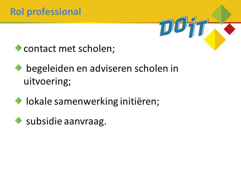 Rol professional contact met scholen; begeleiden en adviseren scholen in uitvoering; lokale samenwerking initiëren; subsidie aanvraag.