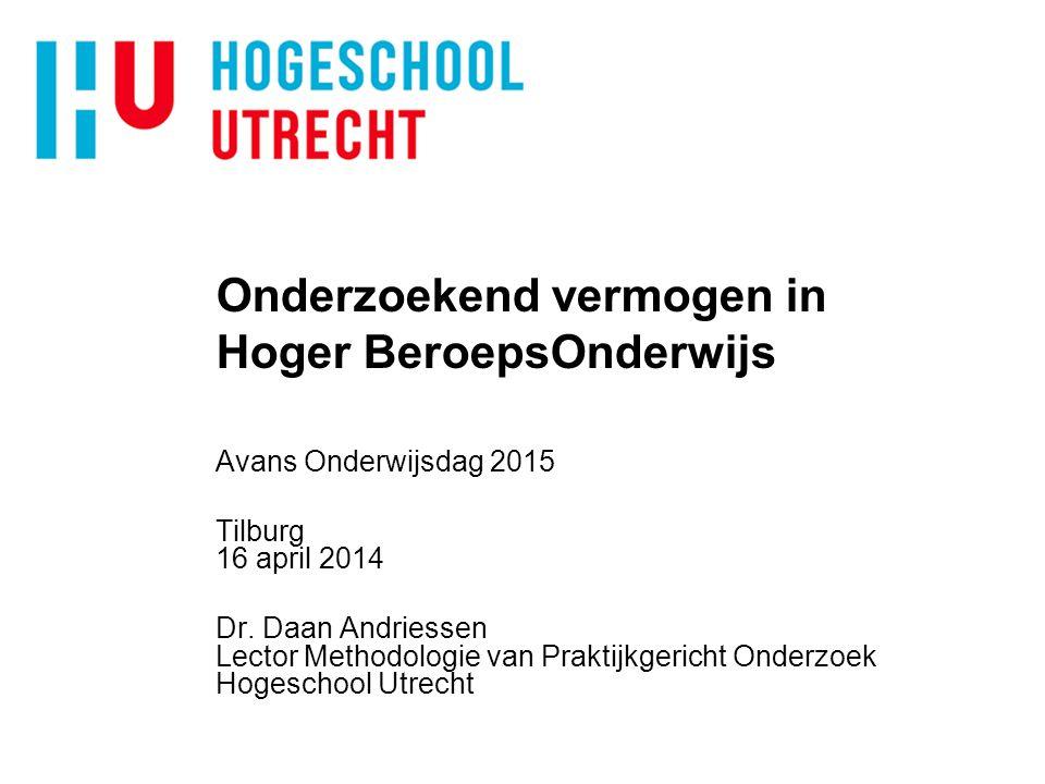 Onderzoekend vermogen in Hoger BeroepsOnderwijs Avans Onderwijsdag 2015 Tilburg 16 april 2014 Dr.
