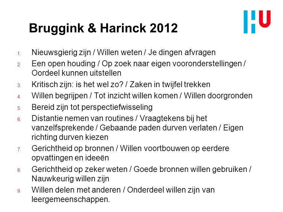 Bruggink & Harinck 2012 1.Nieuwsgierig zijn / Willen weten / Je dingen afvragen 2.