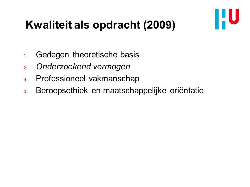 Kwaliteit als opdracht (2009) 1.Gedegen theoretische basis 2.