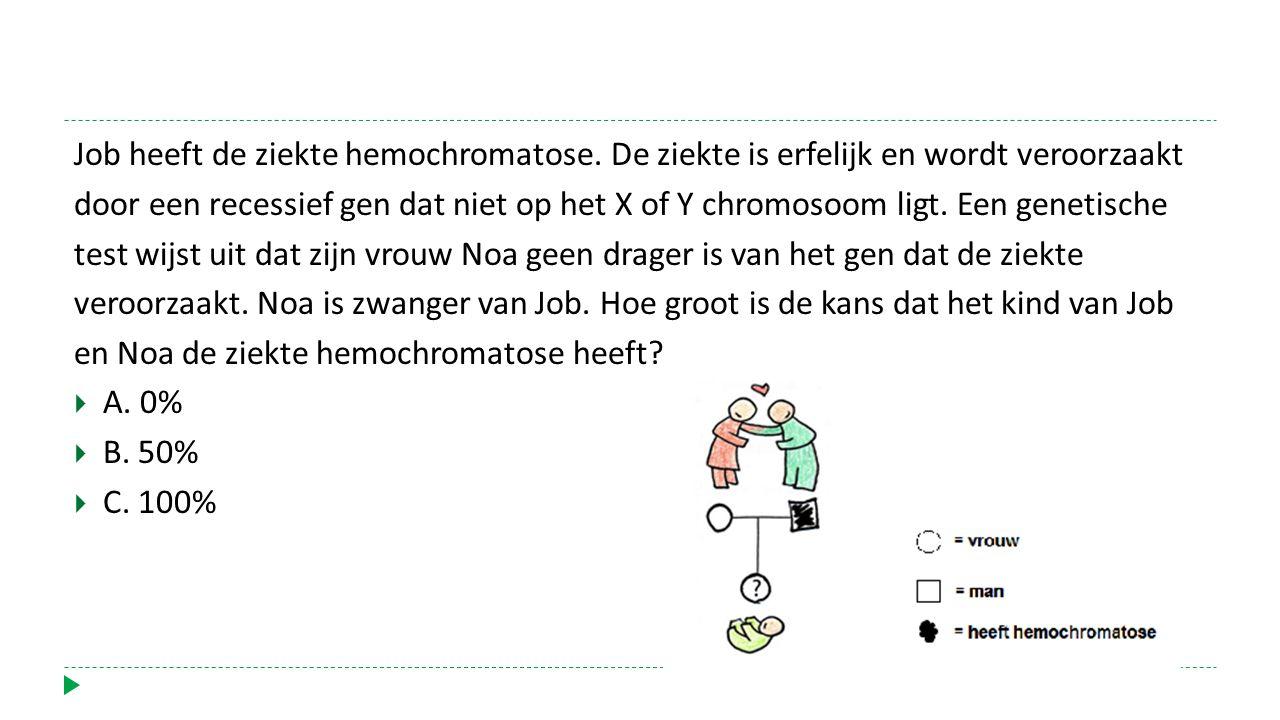 Job heeft de ziekte hemochromatose. De ziekte is erfelijk en wordt veroorzaakt door een recessief gen dat niet op het X of Y chromosoom ligt. Een gene
