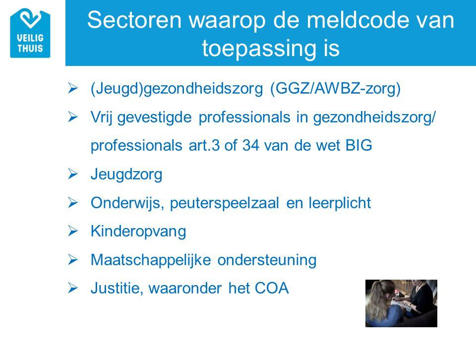 Sectoren waarop de meldcode van toepassing is  (Jeugd)gezondheidszorg (GGZ/AWBZ-zorg)  Vrij gevestigde professionals in gezondheidszorg/ professiona