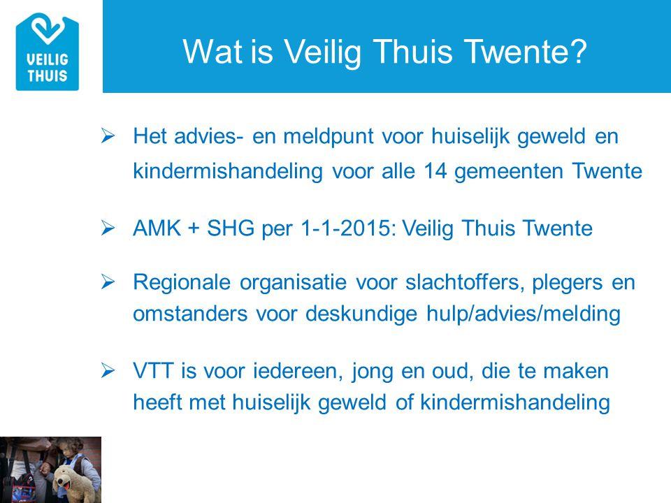 Wat is Veilig Thuis Twente?  Het advies- en meldpunt voor huiselijk geweld en kindermishandeling voor alle 14 gemeenten Twente  AMK + SHG per 1-1-20