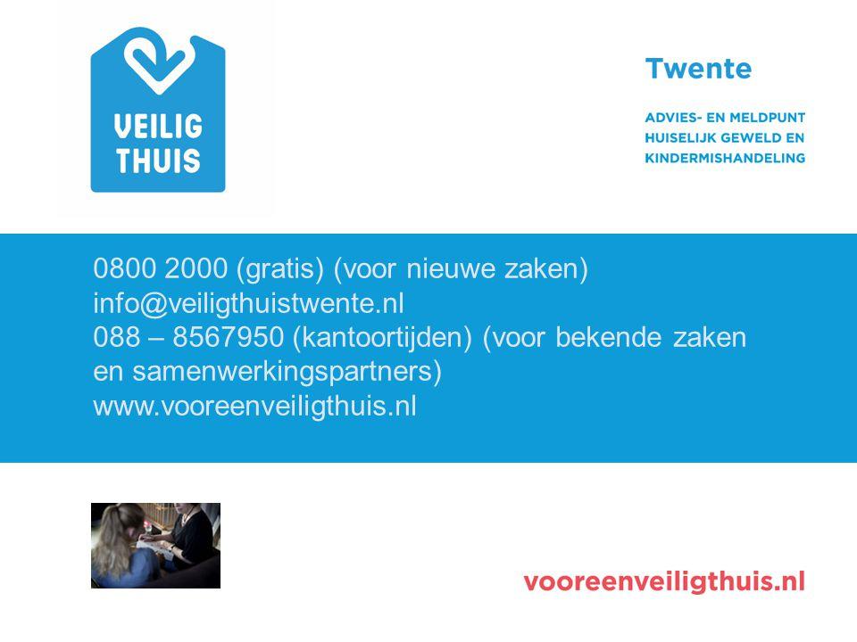 0800 2000 (gratis) (voor nieuwe zaken) info@veiligthuistwente.nl 088 – 8567950 (kantoortijden) (voor bekende zaken en samenwerkingspartners) www.voore