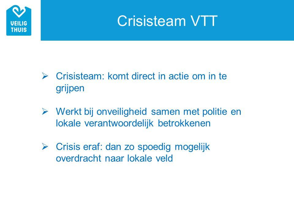 Crisisteam VTT  Crisisteam: komt direct in actie om in te grijpen  Werkt bij onveiligheid samen met politie en lokale verantwoordelijk betrokkenen 