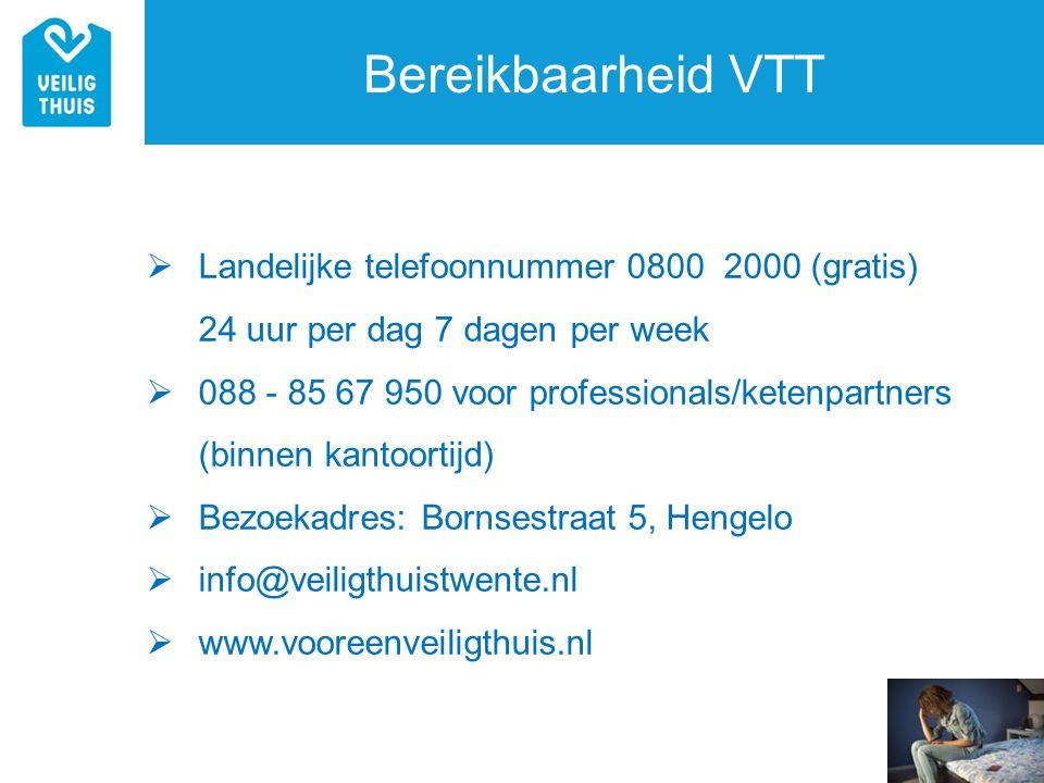 Bereikbaarheid VTT  Landelijke telefoonnummer 0800 2000 (gratis) 24 uur per dag 7 dagen per week  088 - 85 67 950 voor professionals/ketenpartners (