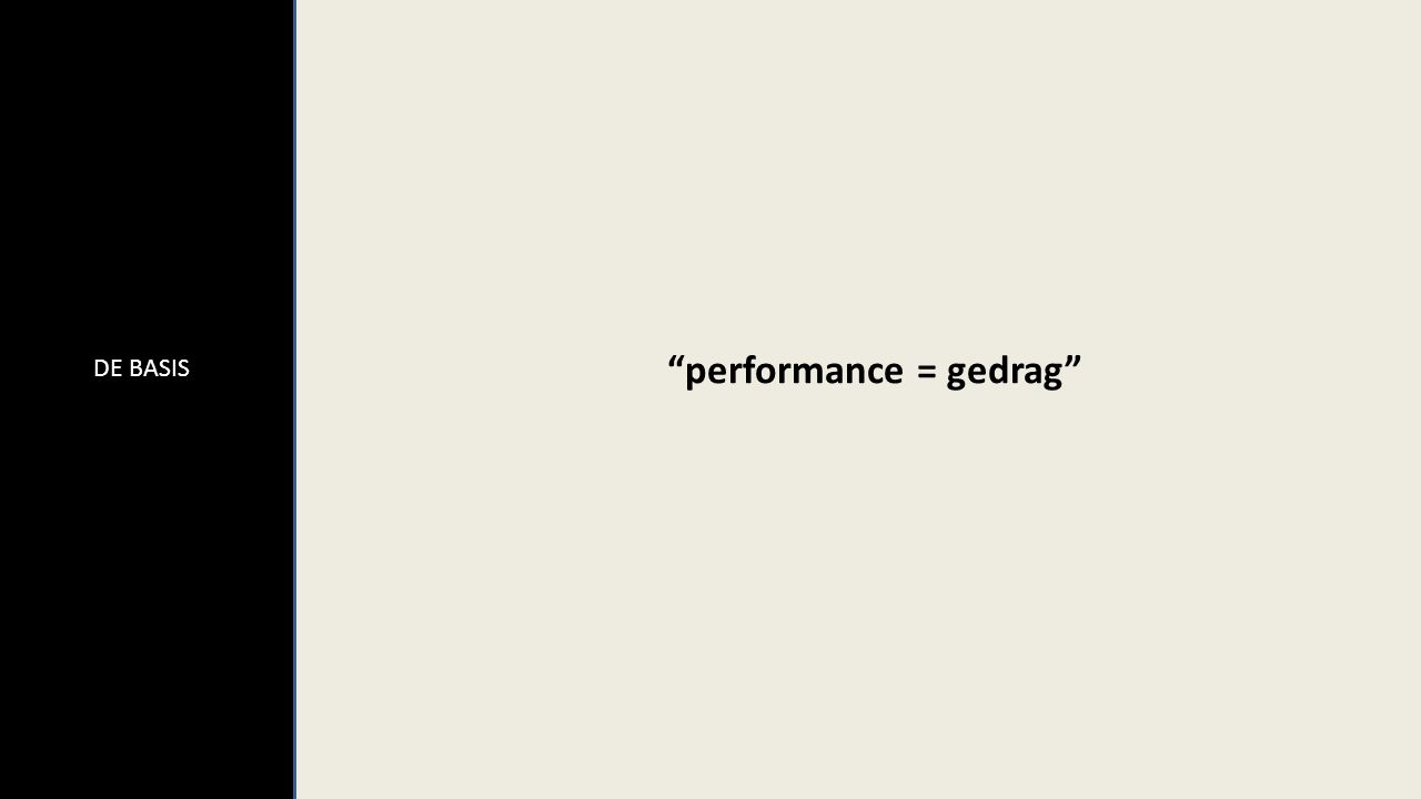 "DE BASIS ""performance = gedrag"""
