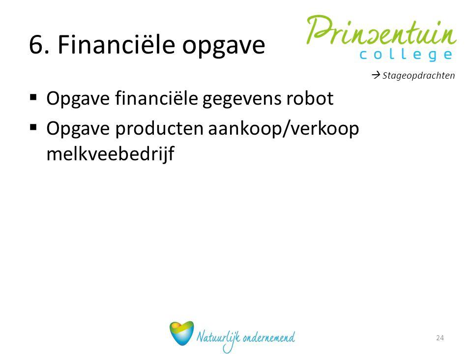 6. Financiële opgave  Opgave financiële gegevens robot  Opgave producten aankoop/verkoop melkveebedrijf  Stageopdrachten 24