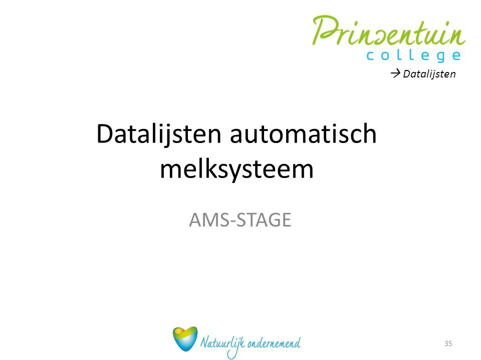 Datalijsten automatisch melksysteem AMS-STAGE 35  Datalijsten