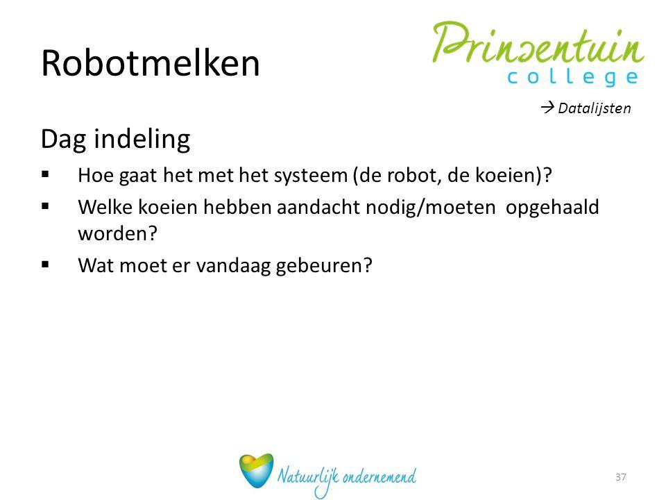 Robotmelken Dag indeling  Hoe gaat het met het systeem (de robot, de koeien)?  Welke koeien hebben aandacht nodig/moeten opgehaald worden?  Wat moe
