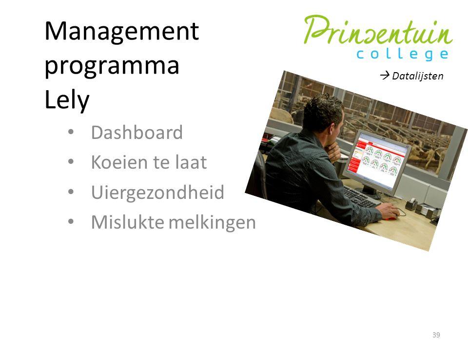 Management programma Lely Dashboard Koeien te laat Uiergezondheid Mislukte melkingen 39  Datalijsten