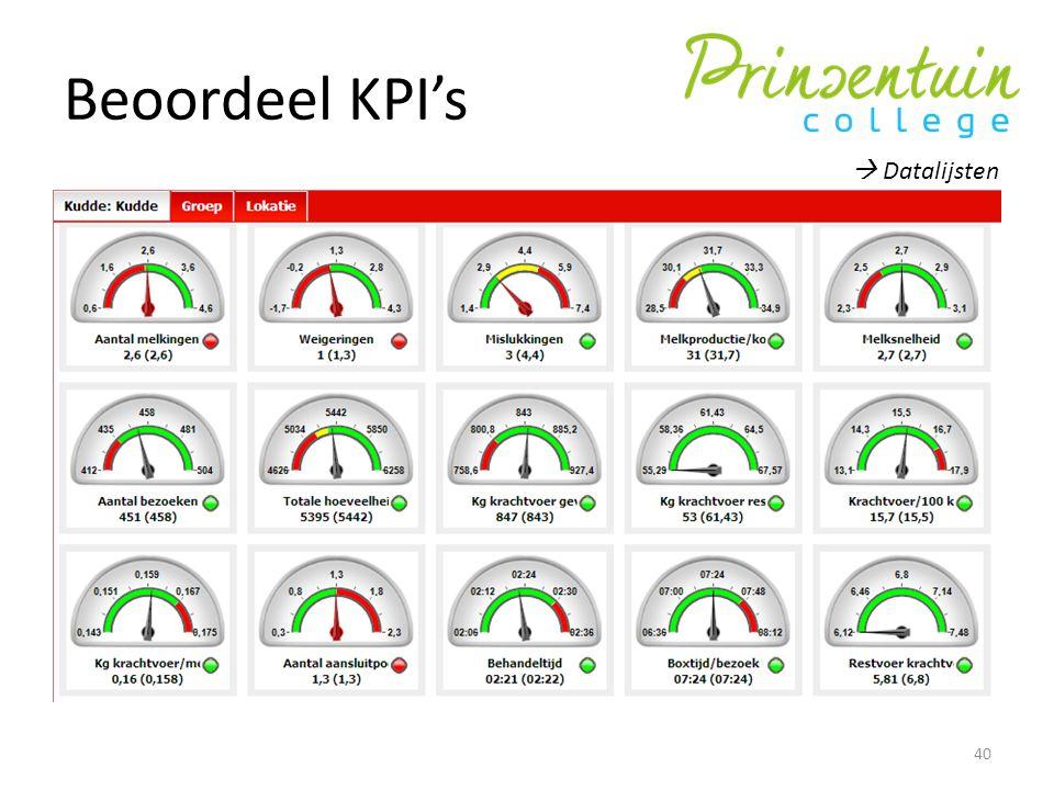 Beoordeel KPI's 40  Datalijsten