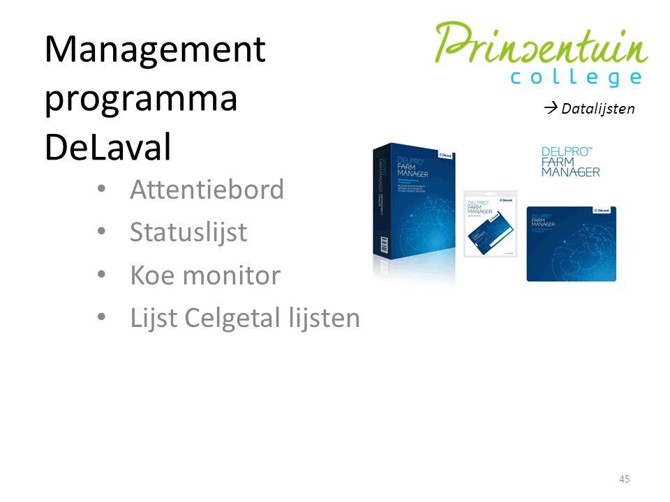 Management programma DeLaval Attentiebord Statuslijst Koe monitor Lijst Celgetal lijsten 45  Datalijsten