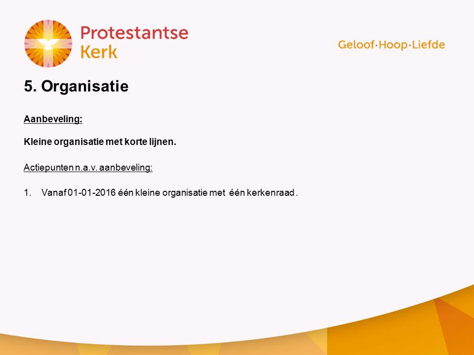 5.Organisatie Aanbeveling: Kleine organisatie met korte lijnen.