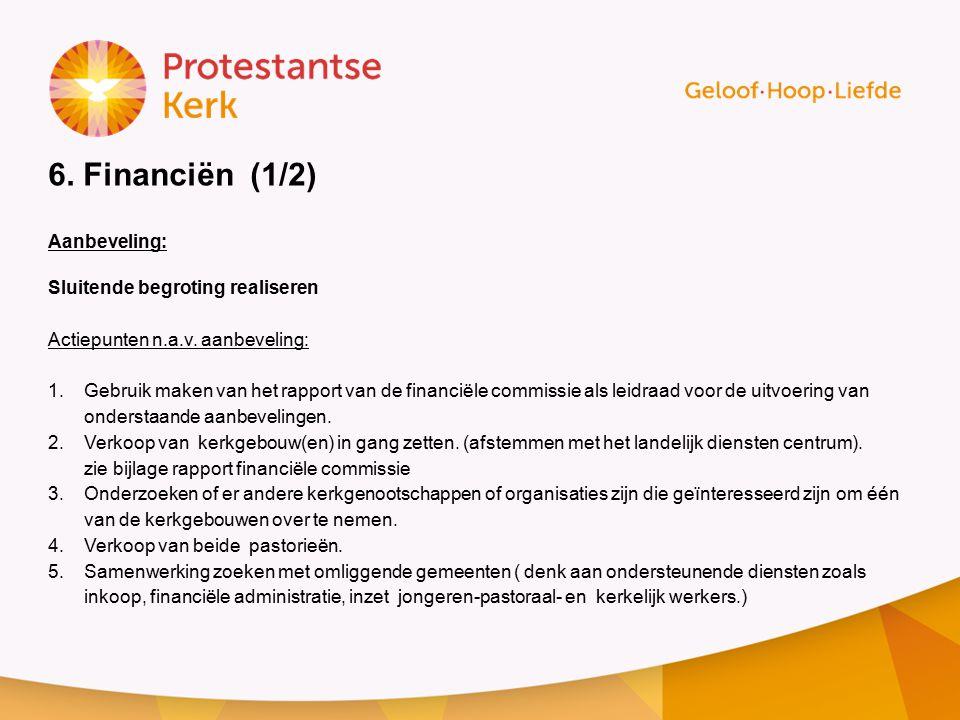 6.Financiën (1/2) Aanbeveling: Sluitende begroting realiseren Actiepunten n.a.v.