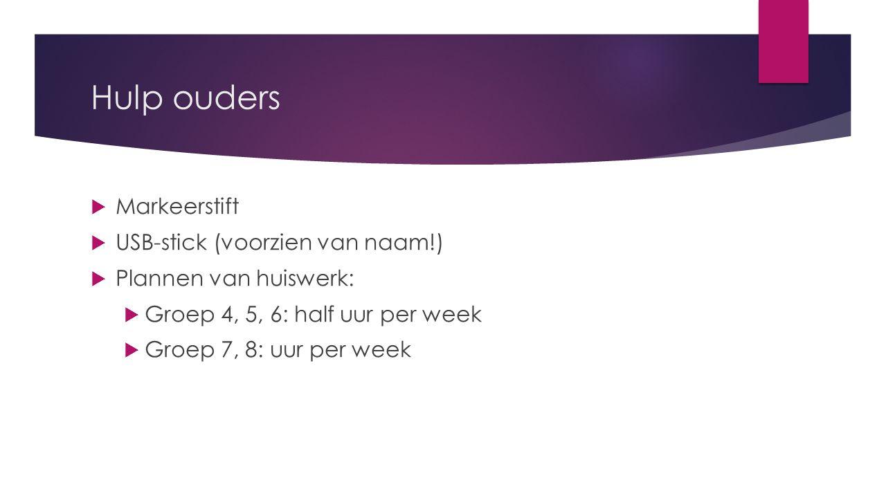 Hulp ouders  Markeerstift  USB-stick (voorzien van naam!)  Plannen van huiswerk:  Groep 4, 5, 6: half uur per week  Groep 7, 8: uur per week