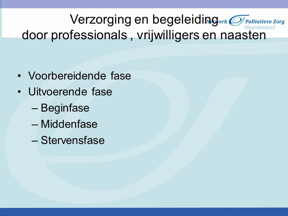 Verzorging en begeleiding door professionals, vrijwilligers en naasten Voorbereidende fase Uitvoerende fase –Beginfase –Middenfase –Stervensfase