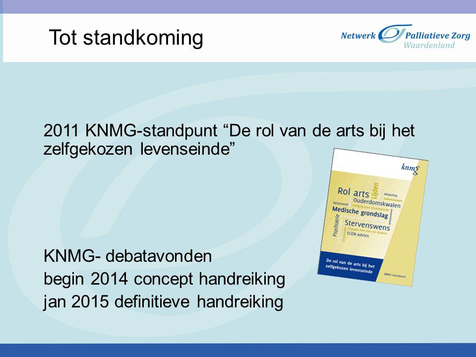 """Tot standkoming 2011 KNMG-standpunt """"De rol van de arts bij het zelfgekozen levenseinde"""" KNMG- debatavonden begin 2014 concept handreiking jan 2015 de"""