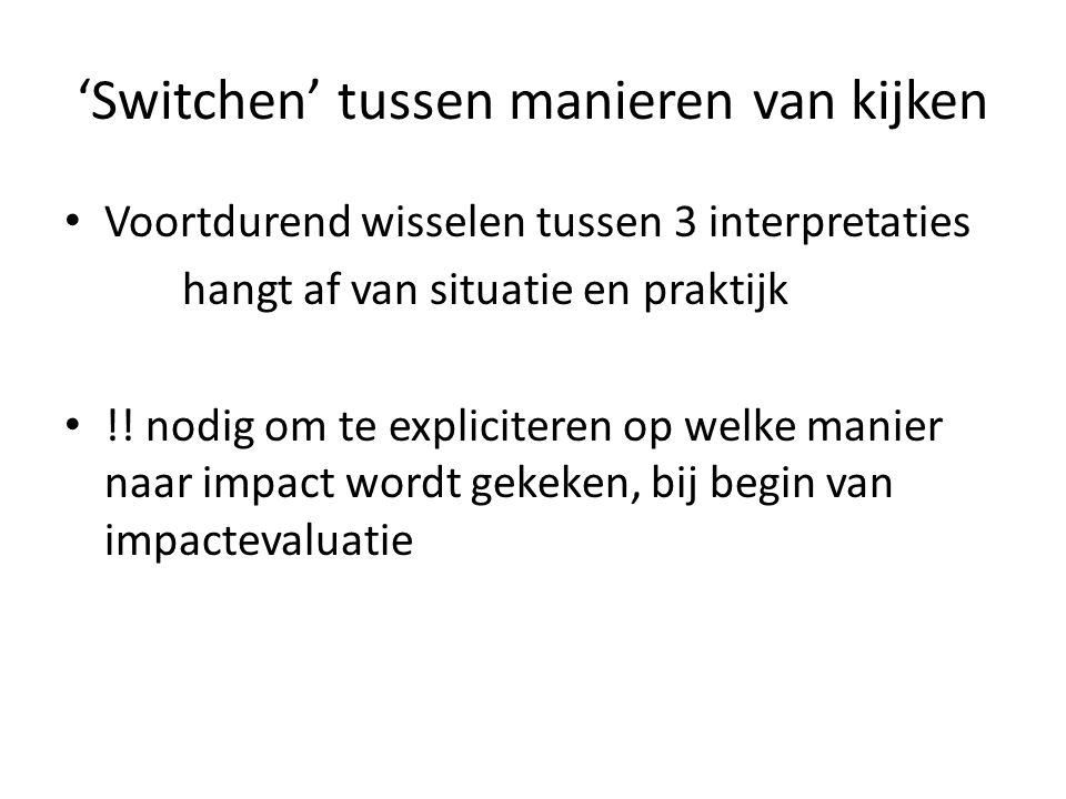 'Switchen' tussen manieren van kijken Voortdurend wisselen tussen 3 interpretaties hangt af van situatie en praktijk !.