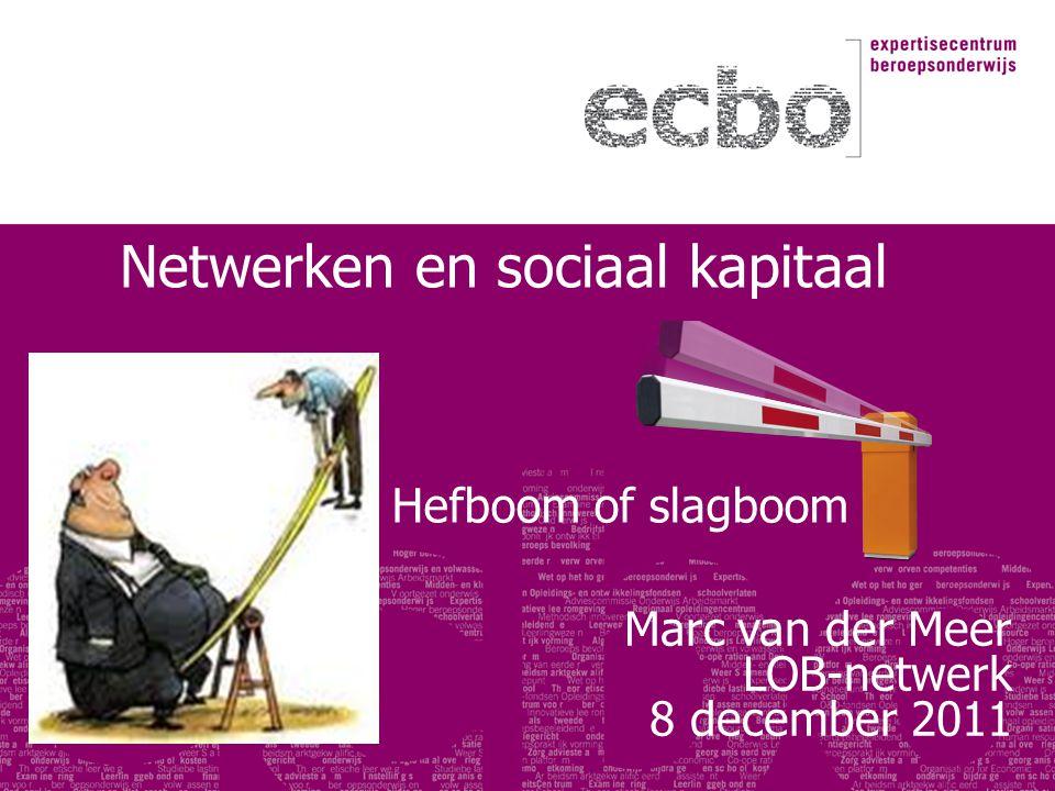 Hefboom of slagboom Marc van der Meer LOB-netwerk 8 december 2011 Netwerken en sociaal kapitaal