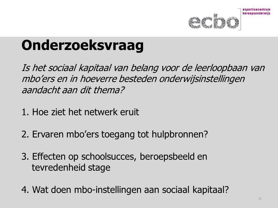 Onderzoeksvraag Is het sociaal kapitaal van belang voor de leerloopbaan van mbo'ers en in hoeverre besteden onderwijsinstellingen aandacht aan dit the