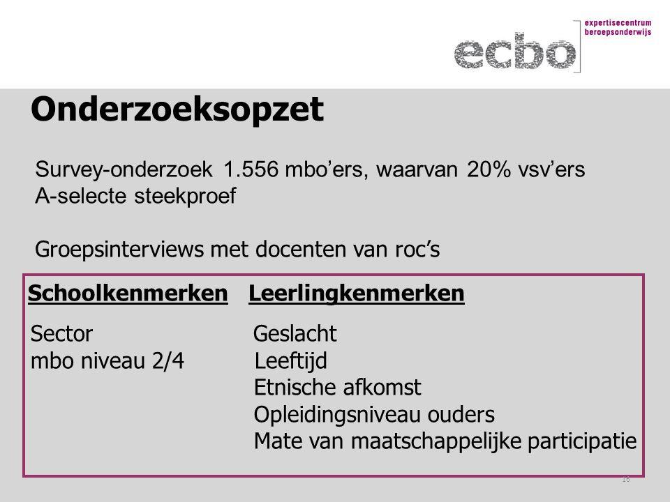Onderzoeksopzet Survey-onderzoek 1.556 mbo'ers, waarvan 20% vsv'ers A-selecte steekproef Groepsinterviews met docenten van roc's Schoolkenmerken Leerl