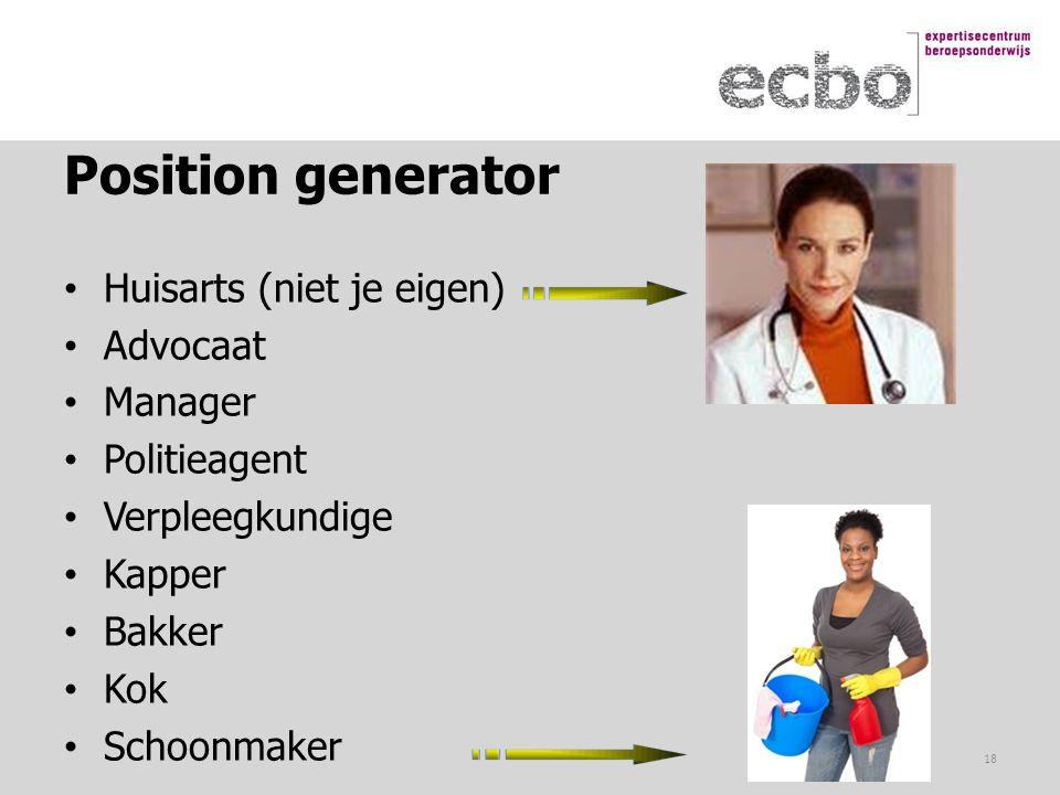 Position generator Huisarts (niet je eigen) Advocaat Manager Politieagent Verpleegkundige Kapper Bakker Kok Schoonmaker 18