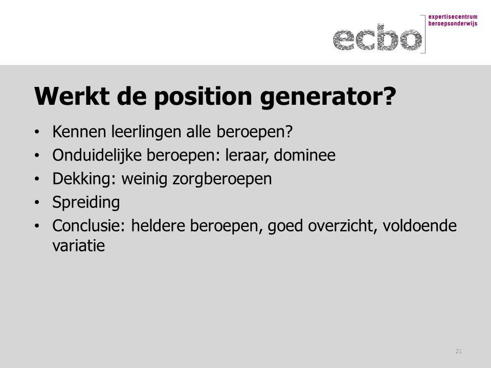 Werkt de position generator? Kennen leerlingen alle beroepen? Onduidelijke beroepen: leraar, dominee Dekking: weinig zorgberoepen Spreiding Conclusie: