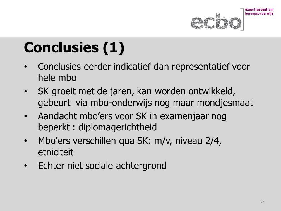 Conclusies (1) Conclusies eerder indicatief dan representatief voor hele mbo SK groeit met de jaren, kan worden ontwikkeld, gebeurt via mbo-onderwijs