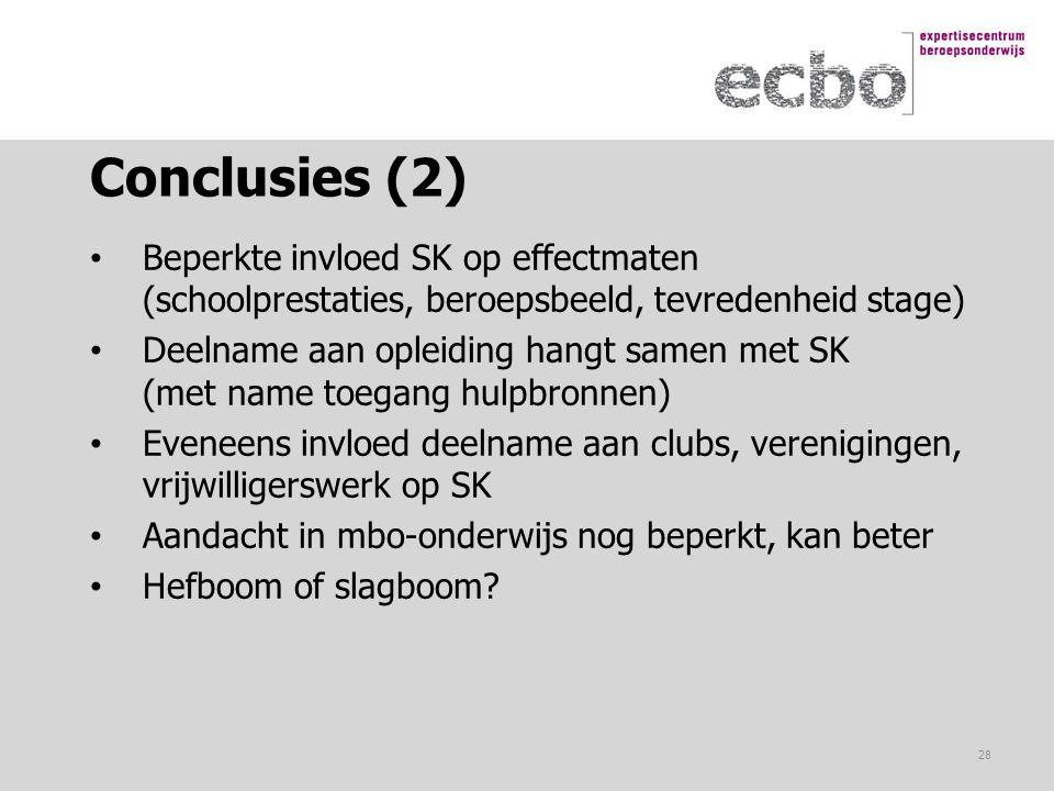 Conclusies (2) Beperkte invloed SK op effectmaten (schoolprestaties, beroepsbeeld, tevredenheid stage) Deelname aan opleiding hangt samen met SK (met