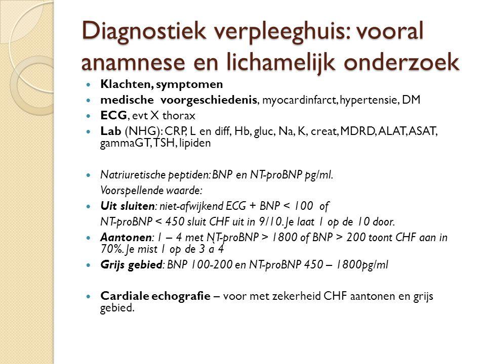 Diagnostiek verpleeghuis: vooral anamnese en lichamelijk onderzoek Klachten, symptomen medische voorgeschiedenis, myocardinfarct, hypertensie, DM ECG,