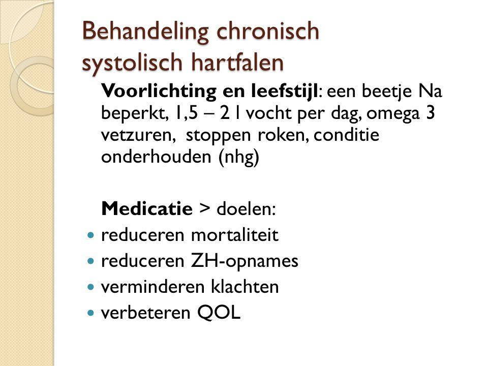 Behandeling chronisch systolisch hartfalen Voorlichting en leefstijl: een beetje Na beperkt, 1,5 – 2 l vocht per dag, omega 3 vetzuren, stoppen roken,