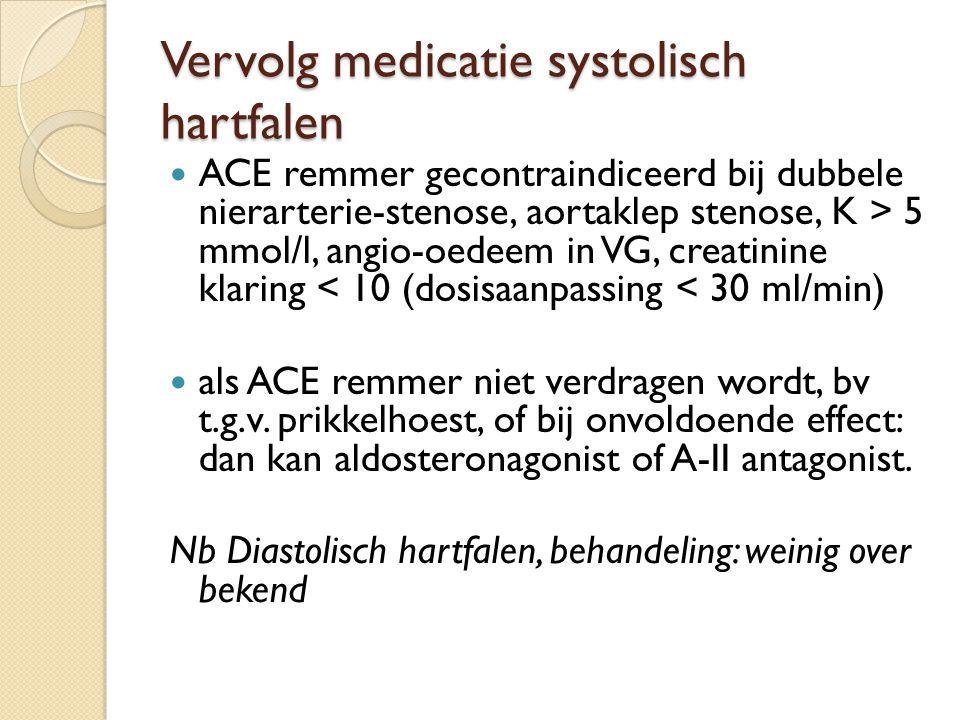 Vervolg medicatie systolisch hartfalen ACE remmer gecontraindiceerd bij dubbele nierarterie-stenose, aortaklep stenose, K > 5 mmol/l, angio-oedeem in