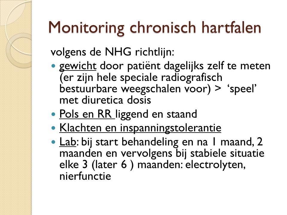 Monitoring chronisch hartfalen volgens de NHG richtlijn: gewicht door patiënt dagelijks zelf te meten (er zijn hele speciale radiografisch bestuurbare