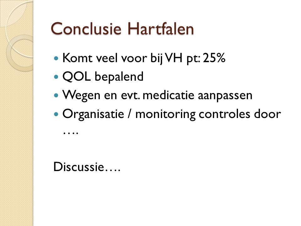 Conclusie Hartfalen Komt veel voor bij VH pt: 25% QOL bepalend Wegen en evt. medicatie aanpassen Organisatie / monitoring controles door …. Discussie…