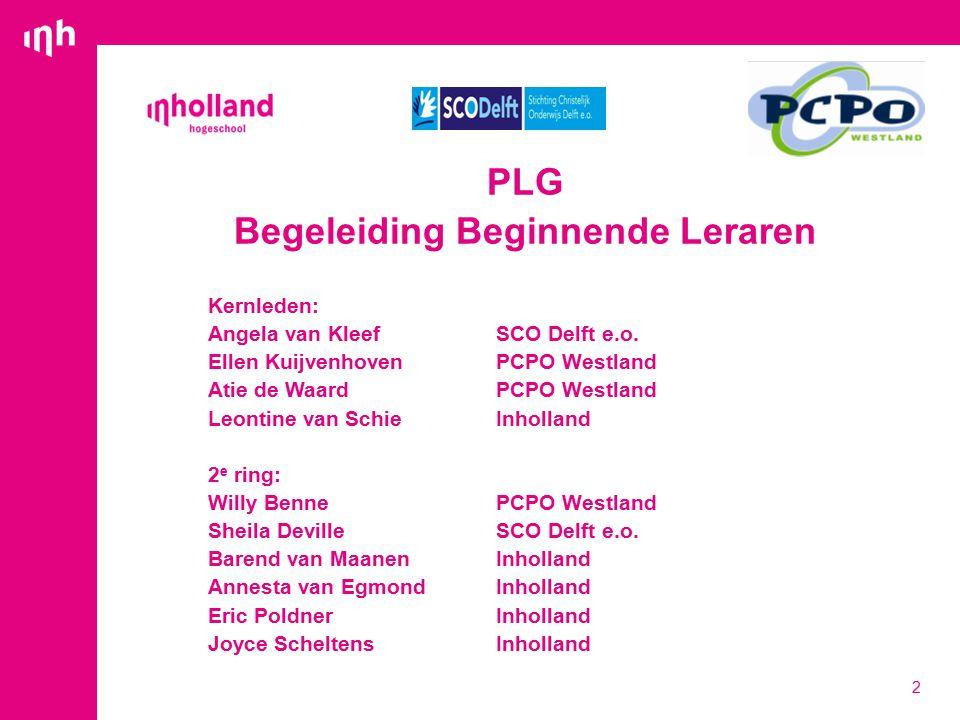 PLG Begeleiding Beginnende Leraren Kernleden: Angela van Kleef SCO Delft e.o.