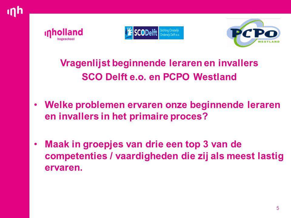 Vragenlijst beginnende leraren en invallers SCO Delft e.o.