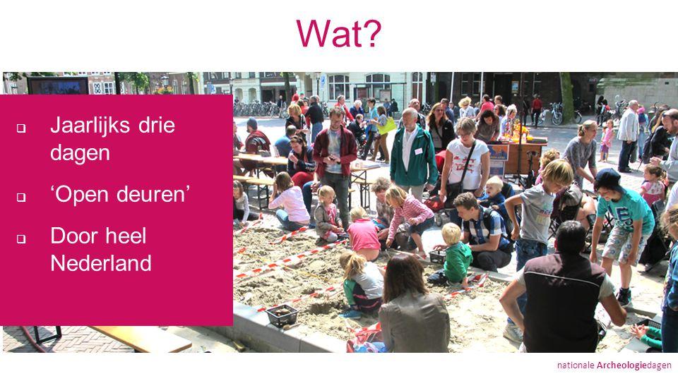 Wat  Jaarlijks drie dagen  'Open deuren'  Door heel Nederland nationale Archeologiedagen
