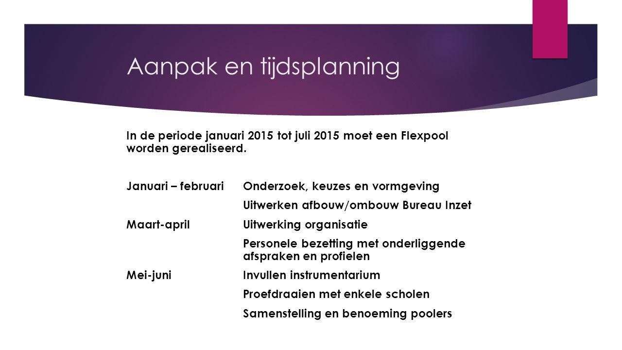 Aanpak en tijdsplanning In de periode januari 2015 tot juli 2015 moet een Flexpool worden gerealiseerd. Januari – februariOnderzoek, keuzes en vormgev