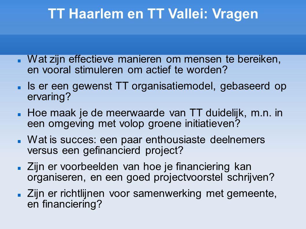 TT Haarlem en TT Vallei: Vragen Wat zijn effectieve manieren om mensen te bereiken, en vooral stimuleren om actief te worden.