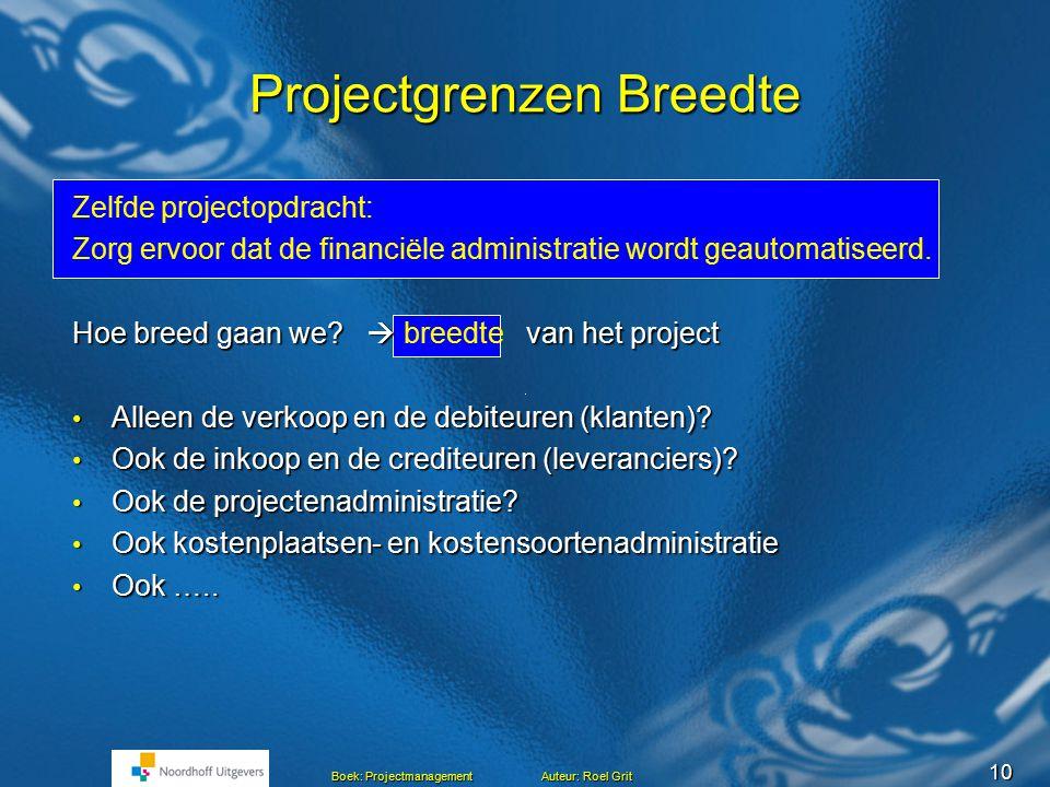 9 Boek: Projectmanagement Auteur: Roel Grit Projectgrenzen Lengte Projectopdracht: Zorg ervoor dat de financiële administratie wordt geautomatiseerd.