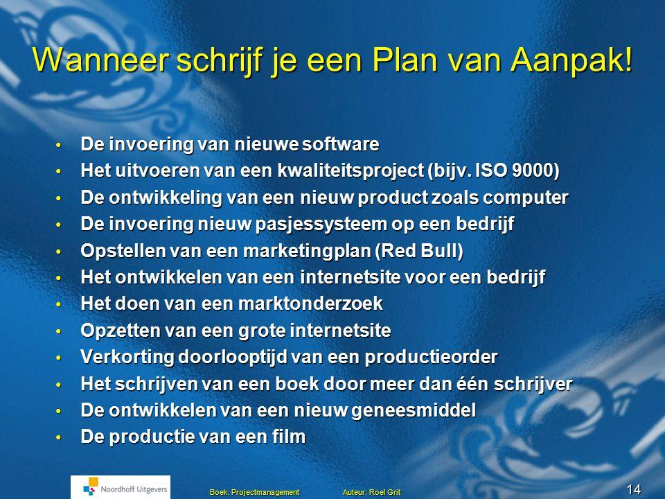 13 Boek: Projectmanagement Auteur: Roel Grit Risico-analyse Risico's: waardoor kan het project mislukken.