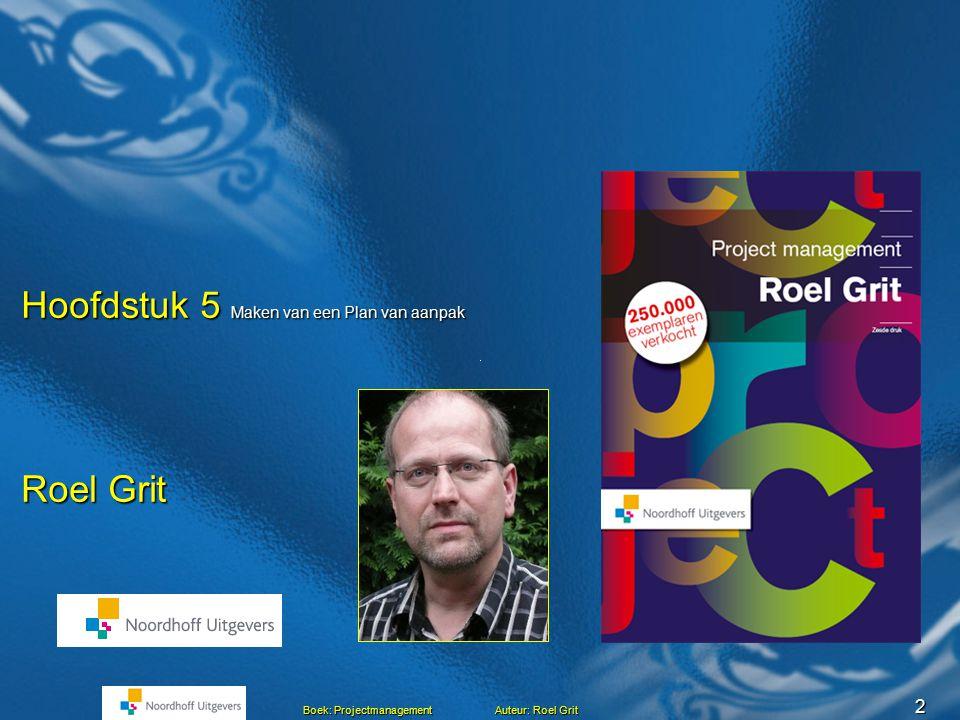 2 Boek: Projectmanagement Auteur: Roel Grit Roel Grit Hoofdstuk 5 Maken van een Plan van aanpak