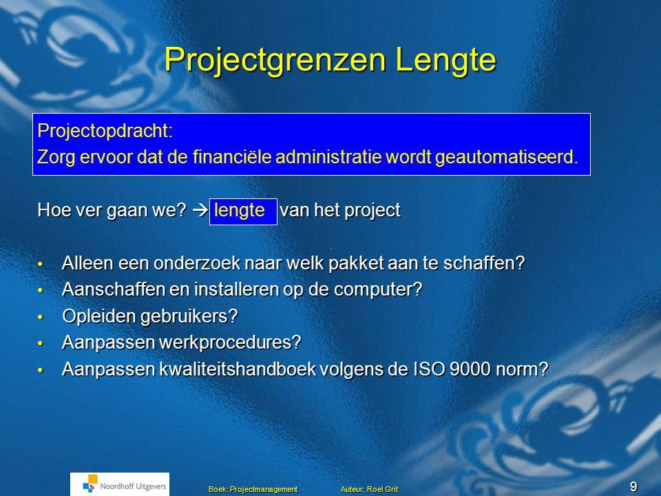 8 Boek: Projectmanagement Auteur: Roel Grit Projectgrenzen Projectgrenzen Start van het project Einde project Rand van het project Mijlpaal Project Projectgrens (4x) De projectgrenzen moeten duidelijk zijn.